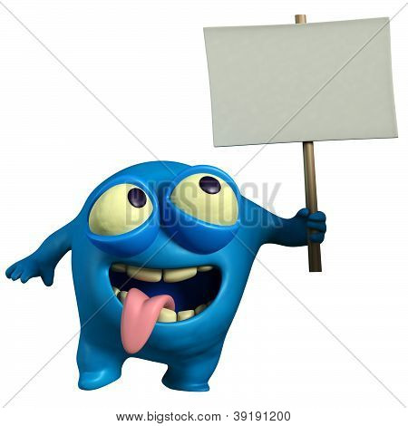 Blue Monster Holding Placard