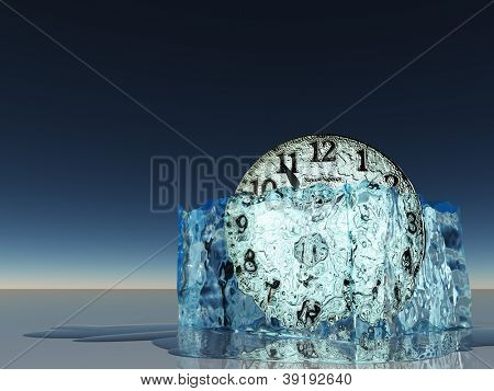 Clock witin melting ice