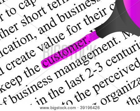 High resolution concept or conceptual abstract black text isolated on white paper background with pink marker as a metaphor for customer,target,marketing,client,service,strategy,business or consumer