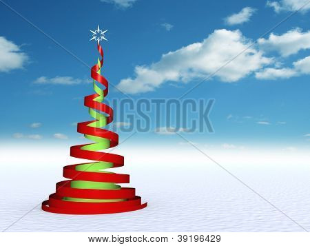 Conceptual green and red Christmas fir tree with a white star ornament or decoration over a blue sky background ideal for Holidays, season,winter,religion designs as modern abstract concept metaphor