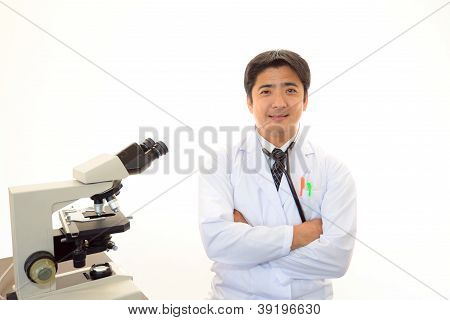 Doctor with a microscopic examination