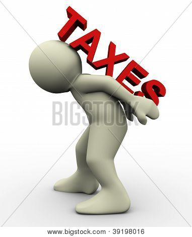 3D Man Carrying Taxes