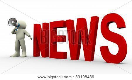 Anuncio de noticias hombre 3D