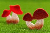 foto of shroom  - Artificial small mushrooms on artificial green grass - JPG