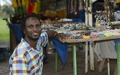 foto of curio  - African small business curio salesman selling ethnic items in Howick KwaZulu - JPG