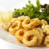 picture of squid  - Salt and pepper squid with a fresh green salad - JPG