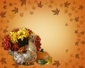 pic of happy thanksgiving  - Image and Illustration composition for Thanksgiving card invitation Fall flowers border with copy space - JPG
