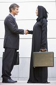 Middle Eastern Woman And Western Man Standing With Brief Cases Shaking Hands