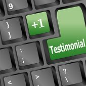 Testimonials Computer Key Shows Recommendations Online