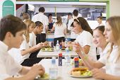 stock photo of hair integrations  - Students having lunch in dining hall - JPG