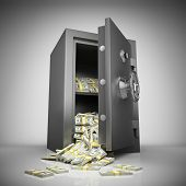 stock photo of bank vault  - Bank safe with money stacks - JPG