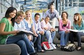 foto of knapsack  - Students study group with teacher - JPG