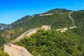 stock photo of qin dynasty  - Great wall of China on a sunny day - JPG