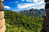 stock photo of qin dynasty  - Landscape seen from the great wall of China - JPG