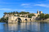 picture of avignon  - Avignon Bridge with Popes Palace Pont Saint - JPG