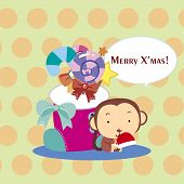 stock photo of sock-monkey  - the vector with cute cartoon Xmas card - JPG