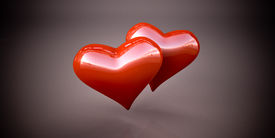 foto of glans  - Shiny red hearts on a dark gray background - JPG