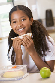 picture of school child  - Student in cafeteria eating lunch  - JPG