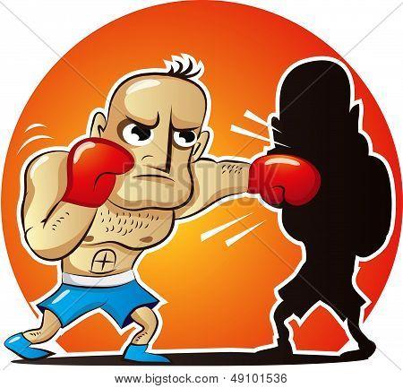 Vector illustration of cartoon boxer