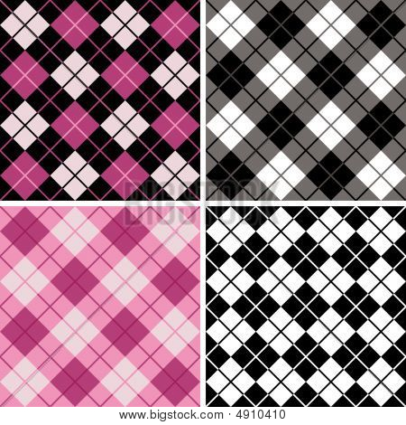 Argyle-plaid Pattern In Black And Pink