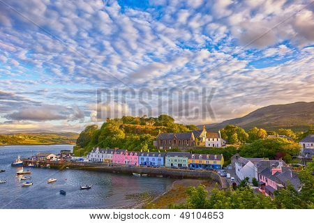 view on Portree before sunset, Isle of Skye, Scotland, UK