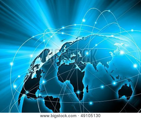 Imagem vívida azul do globo. Conceito de globalização