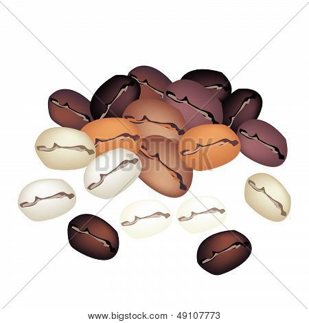 Different Colors Of Coffee Beans Stack On White Background