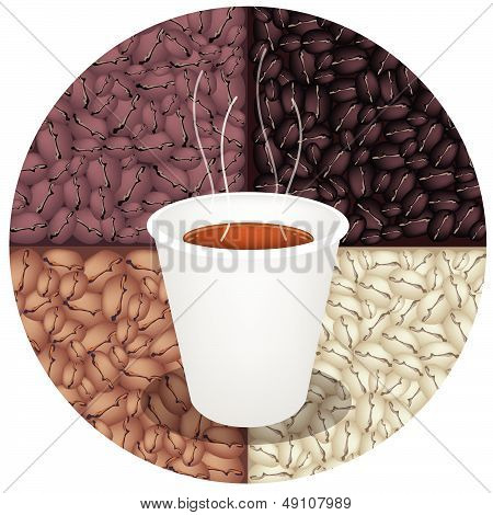 Hot Coffee In Disposable Cup On Coffee Beans Background