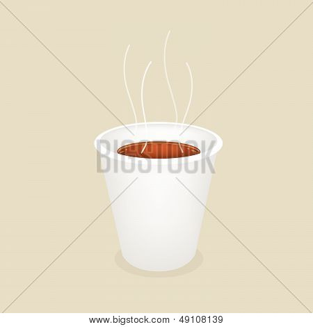 A Smoking Hot Coffee In Disposable Cup