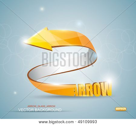 Gold Arrow. Vector Symbol.