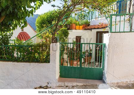 Building Exterior Of Home In Small Cretan Village In Crete  Island, Greece. See Other Pictures From