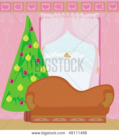 Fashionable Interior Of Living Room With Christmas Tree