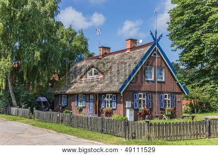 Traditional Wooden House On Curonian Spit