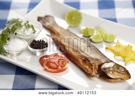 Smoked Trout With Spices, Herbals And Trimming