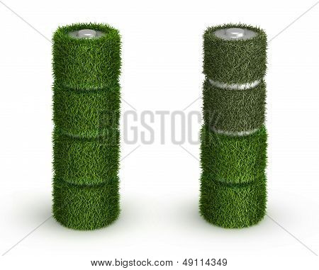 AA battery from grass with cells and discharged