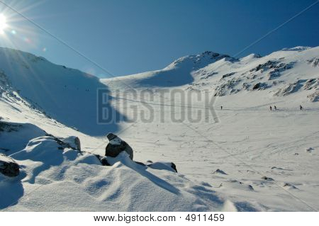 Snow Slopes On Blackcomb Mountain In Sunny Spring Day