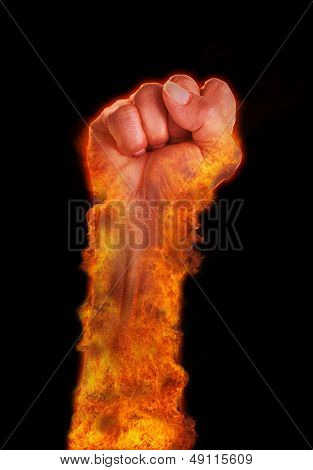 Hand With Fire Burning On Black Background