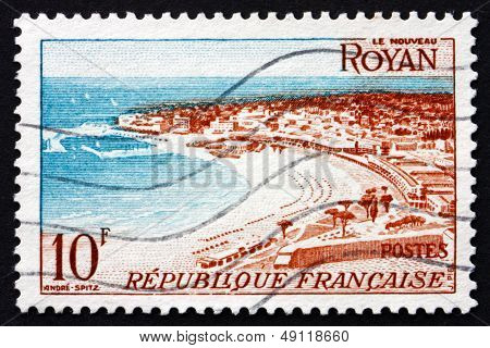 Postage Stamp France 1954 View Of Beach At Royan