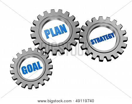 Goal, Plan And Strategy In Silver Grey Gears
