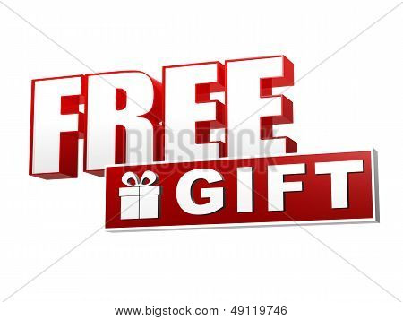 Free Gift With Present Box Symbol In Red White Banner - Letters And Block