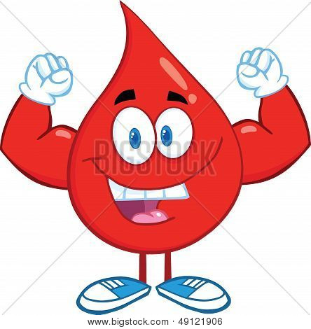 Red Blood Drop Character Showing Muscle Arms