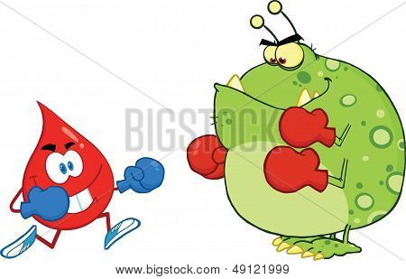 Red Blood Drop Character Fighting With Germ Or Virus