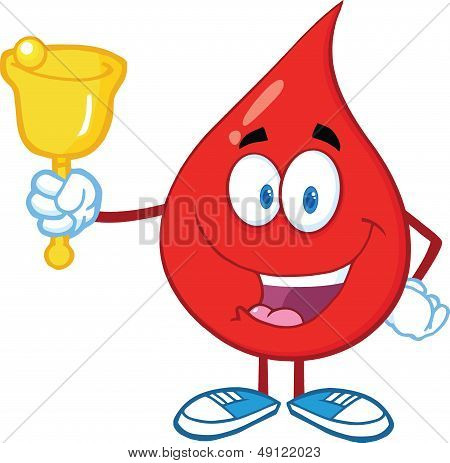 Red Blood Drop Waving A Bell For Donation