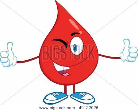 Red Blood Drop Character A Double Thumbs Up