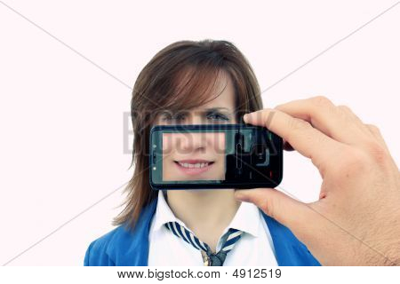 Girl Photographed By Cellphone