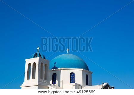 Rooftop Of A Gorgeous Blue And White Orthodox  Church