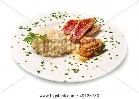 Rice With Red Mullet Fillets And Seafood