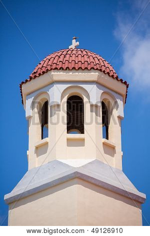 Pigeon Resting On A Roof Of An Orthodox Church In Rethimnon