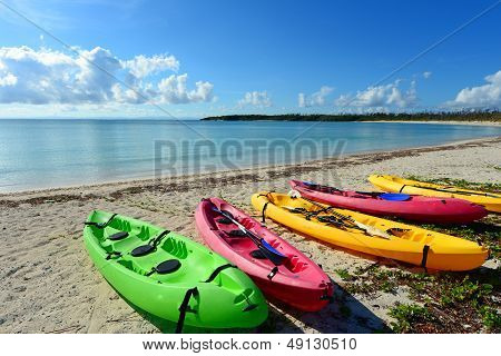 Colored rowboats in the beach