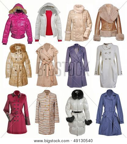 collection of jacket isolated on white